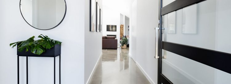Polished concrete in hallway