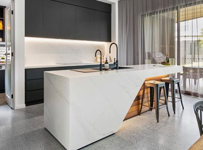 Polished concrete in modern kitchen