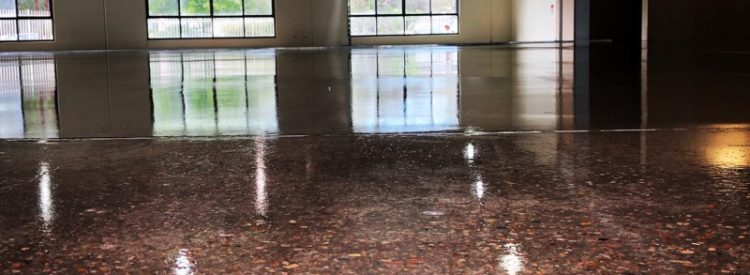 Sealed concrete floor in commercial building